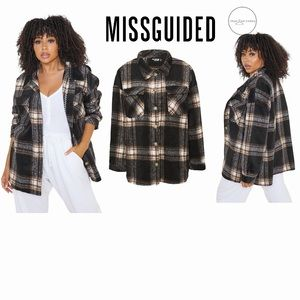 Missguided Brushed Check Fall Shacket
